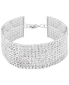 Say Yes to the Prom Silver-Tone Crystal Multi-Row Flex Bracelet