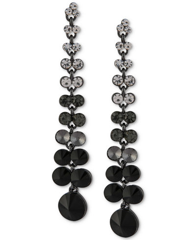 Say Yes to the Prom Hematite-Tone Multi-Stone Linear Drop Earrings