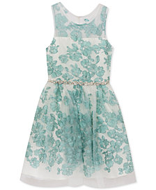 Rare Editions Mint Floral Embroidered Dress, Toddler Girls, Created for Macy's