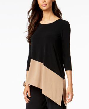 Alfani Petite Colorblocked Asymmetrical Top, Created for Macy's