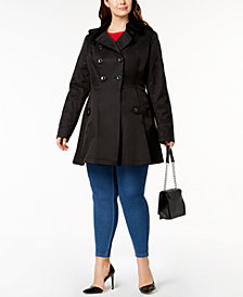Via Spiga Plus Size Waterproof Skirted Trench Coat