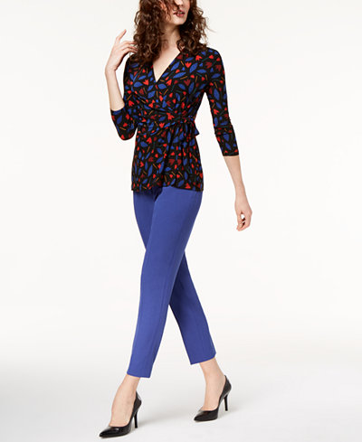 Anne Klein Faux-Wrap Top & Slim-Fit Pants