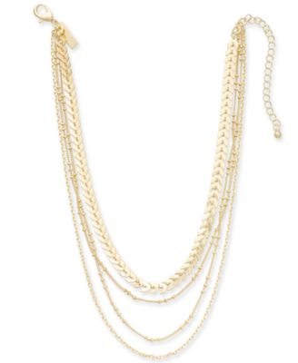 """I.N.C. Gold-Tone Multi-Chain Layered Choker Necklace, 12"""" + 3"""" extender, Created for Macy's"""