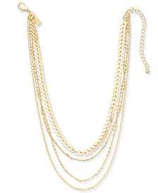 "I.N.C. Gold-Tone Multi-Chain Layered Choker Necklace, 12"" + 3"" extender, Created for Macy's"