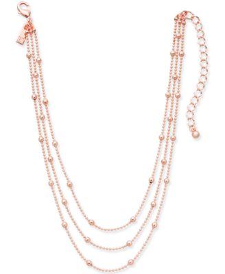 INC Rose GoldTone Three Layer Beaded Choker Necklace 12 3