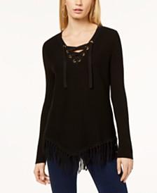 I.N.C. Fringe-Trim Sweater, Created for Macy's