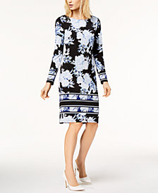 I.N.C. Petite Printed Striped-Border Sheath Dress, Created for Macy's