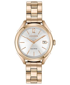 Drive From Citizen Eco-Drive Women's Rose Gold-Tone Stainless Steel Bracelet Watch 34mm