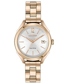 Citizen Drive From Citizen Eco-Drive Women's Rose Gold-Tone Stainless Steel Bracelet Watch 34mm