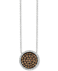 "Le Vian Chocolatier® Diamond Cluster Halo 18"" Pendant Necklace (3/4 ct. t.w.) in 14k White Gold"