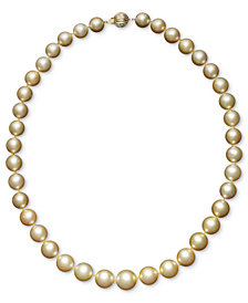 "Pearl 18"" Necklace, 14k Gold Cultured Golden South Sea Pearl Graduated Strand (10-12-1/2mm)"