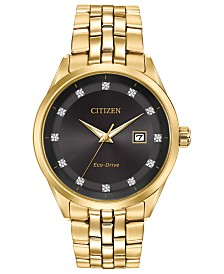 Citizen Men's Eco-Drive Corso Diamond-Accent Gold-Tone Stainless Steel Bracelet Watch 41mm