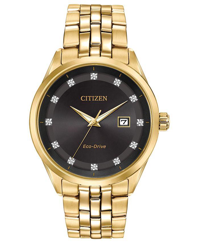 Citizen - Men's Eco-Drive Corso Diamond-Accent Gold-Tone Stainless Steel Bracelet Watch 41mm