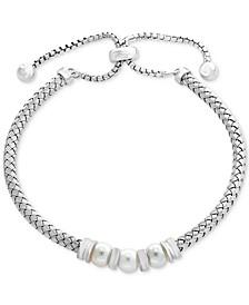 EFFY® Cultured Freshwater Pearl (6mm) Bolo Bracelet in Sterling Silver