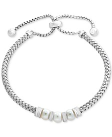 EFFY® Cultured Freshwater Pearl (6mm) Bolo Bracelet in Sterling Silver