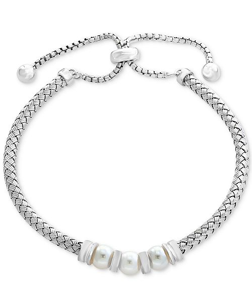 EFFY Collection EFFY® Cultured Freshwater Pearl (6mm) Bolo Bracelet in Sterling Silver