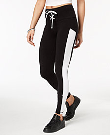 Material Girl Juniors' Colorblocked Lace-Up Skinny Active Leggings, Created for Macy's