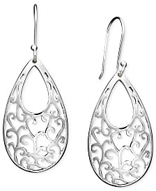 Giani Bernini Open Filigree Drop Earrings in Sterling Silver, Created for Macy's