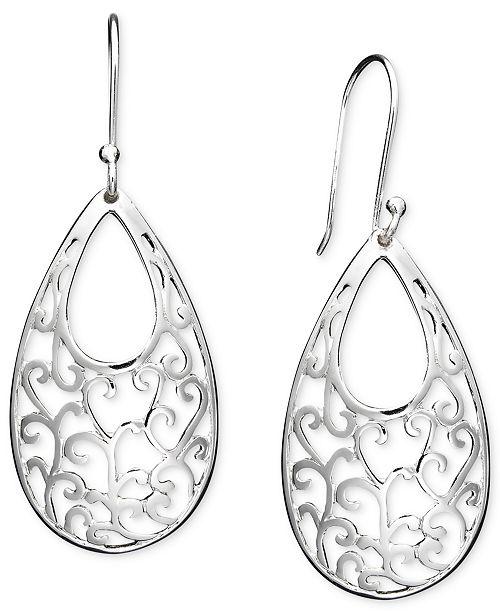 Giani Bernini Open Filigree Drop Earrings in Sterling Silver, Created for Macy's