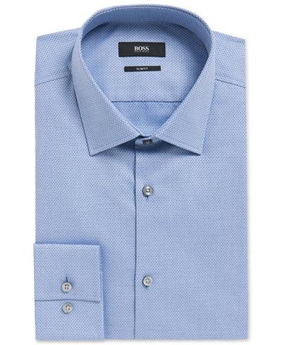 BOSS Men's Slim-Fit Diamond-Print Cotton Dress Shirt