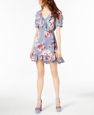 Jill Jill Stuart Ruffled Wrap Dress, Created For Macy'S In Chambray Rose Print