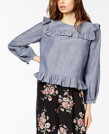 Jill Jill Stuart Ruffled Chambray Top, Created for Macy's