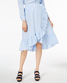 Jill Jill Stuart Ruffled Faux-Wrap Midi Skirt, Created for Macy's