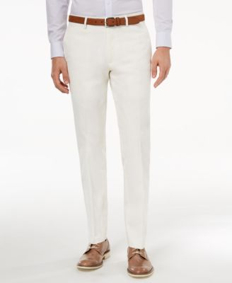 Men's Slim-Fit Stretch White Solid Suit Pants, Created for Macy's