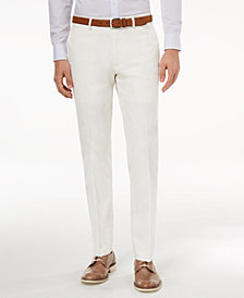 CLOSEOUT! Bar III Men's Slim-Fit Stretch White Solid Suit Pants, Created for Macy's