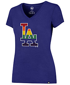 '47 Brand Women's Los Angeles Dodgers Pride Splitter V-Neck T-Shirt