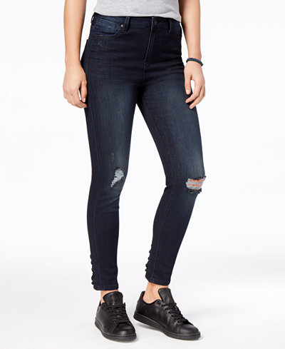 Celebrity Pink Juniors' Lace-Up Ripped Skinny Jeans