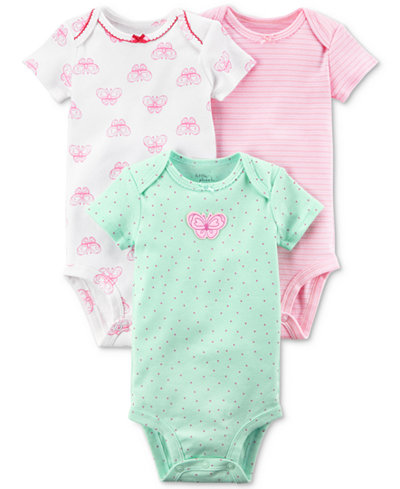 Carters Little Planet Organics 3-Pack Graphic-Print Cotton Bodysuits, Baby Girls