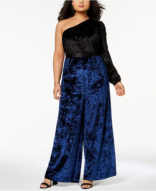 5d8f6c80ffe Monif C. Trendy Plus Size Velvet One-Shoulder Jumpsuit   Reviews ...