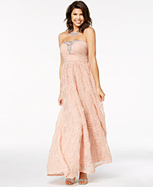 Trixxi Juniors' Embellished Soutache Strapless Gown, Created for Macy's