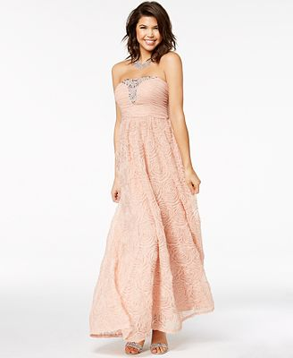 Trixxi Juniors Embellished Soutache Strapless Gown Created For