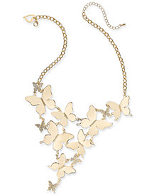 "Thalia Sodi Gold-Tone Pavé Butterfly Statement Necklace, 17"" + 3"" extender, Created for Macy's"