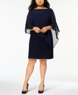 ef7adbe6909 XSCAPE Plus Size Beaded Chiffon Popover Dress   Reviews - Dresses - Women -  Macy s