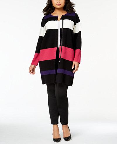 Calvin Klein Plus Size Striped Sweater Topper Jacket