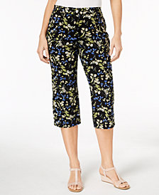 Karen Scott Petite Floral-Print Capri Pants, Created for Macy's
