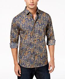 Tallia Men's Modern-Fit Ochre Floral-Print Dress Shirt