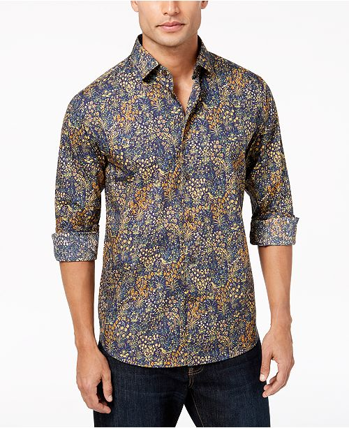 60% discount great deals on fashion lower price with Tallia Men's Modern-Fit Ochre Floral-Print Dress Shirt ...