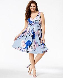 City Chic Plus Size Floral-Print Flare Dress