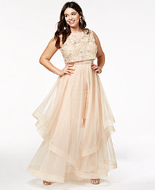 Say Yes To The Prom Trendy Plus Size Illusion-Waist Gown, Created for Macy's