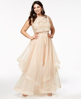 Say Yes To The Prom Trendy Plus Size Illusion Waist Gown Created