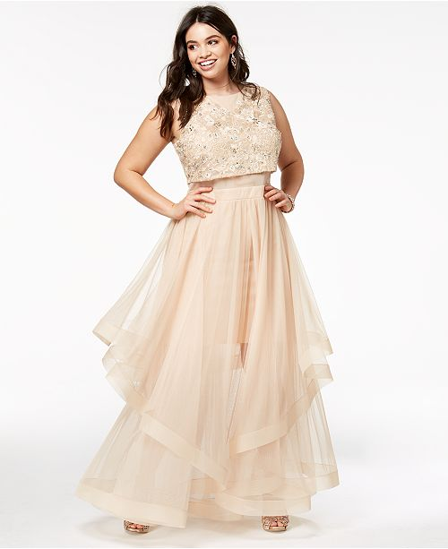 Say Yes to the Prom Trendy Plus Size Illusion-Waist Gown, Created ...