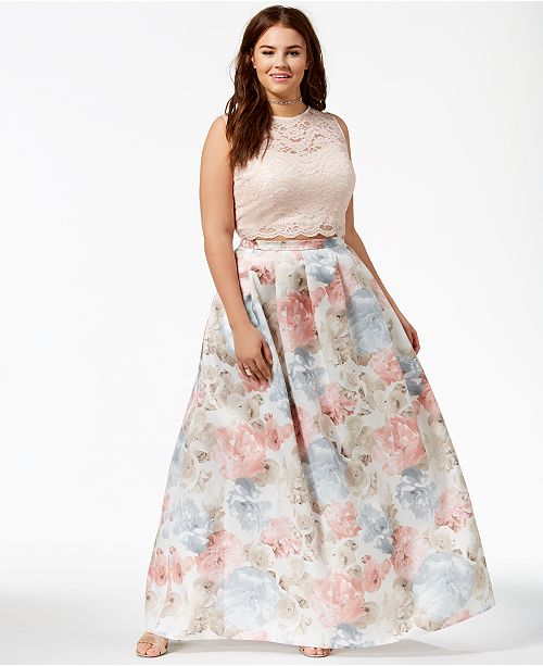 Morgan & Company Trendy Plus Size 2-Pc. Floral-Print Gown & Reviews ...