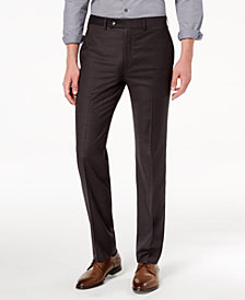 Calvin Klein Men's Slim-Fit Stretch Charcoal Mini-Grid Dress Pants