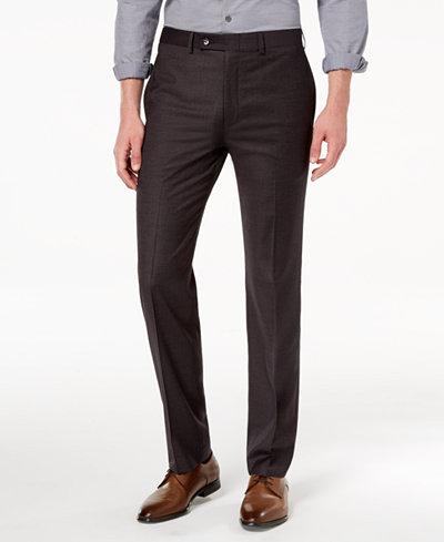 Calvin Klein Men's Slim-Fit Stretch Charcoal Mini-Grid Dress Pants