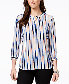 JM Collection Petite Printed Pleated-Back Blouse, Created for Macy's