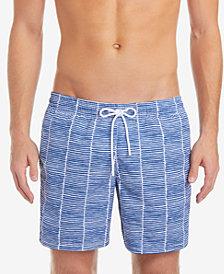 "Lacoste Men's 6.75"" Mid-Length Swim Trunks with Allover Print"
